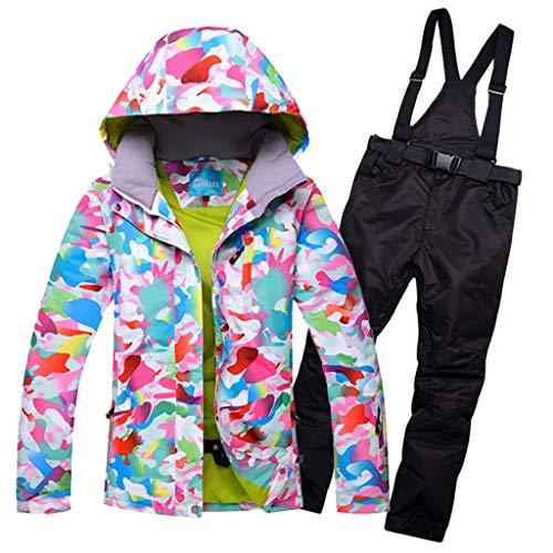 JXS-Outdoor dames ski-jas broek Sneeuwpak - winddicht snowboarden skiën - ademende rits met afneembare verstelbare riem, zwart, L