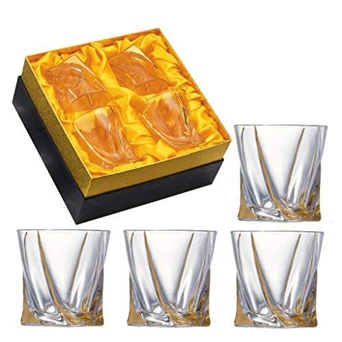 Whisky Glazen - Set van 4 - Premium Loodvrij Kristal Glas Bekers -Goud Grote Tasting Tumblers voor het drinken van Scotch Bourbon Brandy - Luxe Geschenkdoos voor Mannen of Vrouwen 9.7cmx9.4cm/320ml