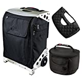 ZUCA Flyer Travel Black Bag/Silver Case w Pouches, Gift Seat Cushion + Lunchbox