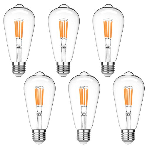 LEDERA ST64 Vintage LED Edison Bulbs Dimmable, Equivalent 60W, Warm White 2700K, Antique LED Filament Bulbs,E26 Medium Base, 600lm, 2700K Warm White, Clear Glass (6-pack)