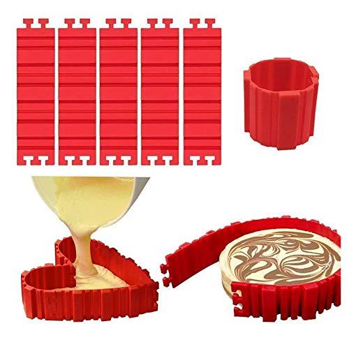 Molde para Tartas de Silicona de Magic Hornear Serpientes Bandeja 5 pz, Molde para Hacer Tartas en Casa, Flexible, Antiadherente y Desmontable para Realizar Tartas Caseras