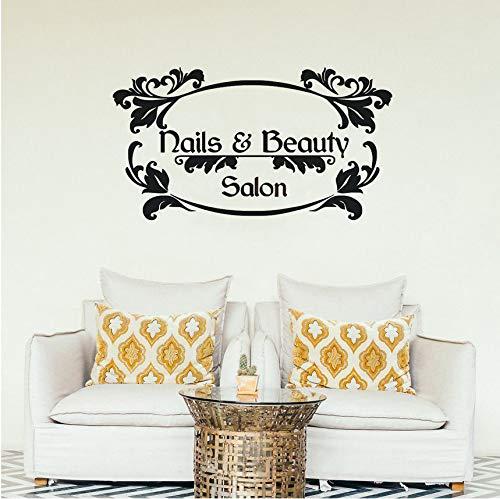 hwhz 57 X 31 cm Nails Art Wall Decal Beauty Salon Manicure Wall Vinyl Sticker Nail Salon Window Decals Nails and Beauty Logo Wall Mural