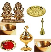 finaldeals Diwali Puja Combo Pack Laxmi Ganesh Idol with Garuda Ghanti Sindoor Brass Thali Brass Bowls and Om Jyot