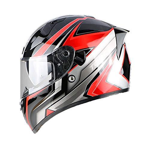 FPTB Casco De Motocicleta De Cara Completa Anti-Niebla Dot/Certificación ECE Scooter Rider Motorbike Helmets 4-Temporada Anti-Glare Sun Visor Street Moto-Casco para Hombre Mujer,Style 6,XL(59~60cm)