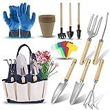 DEWINNER Juego de herramientas de jardinería – 23 piezas de herramientas de jardín resistentes incluye guantes bolsa de sujeción para hombres o mujeres