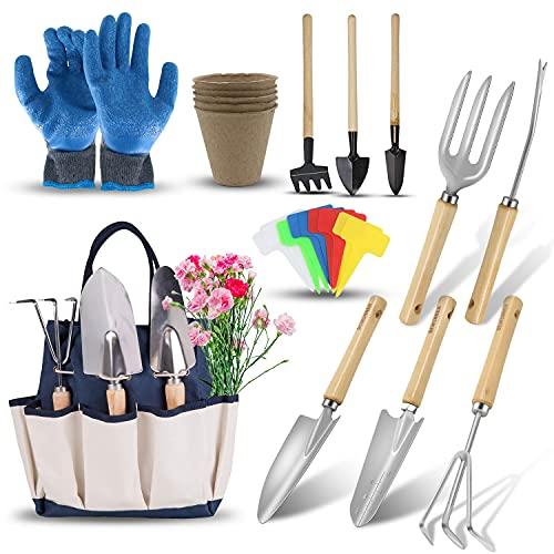 DEWINNER Gardening Tools Set - 23 Piece Heavy Duty Garden Tools Set...