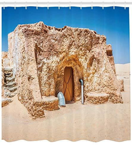 taquxinlaowan Cortina de Ducha Galaxy Set de película vacía de Túnez Imprimir para baño