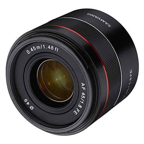 Samyang AF Portrait Vaste brandpuntsautofocus full-formaat lens voor Sony Alpha spiegelloze systeemcamera's, full-formaat en APS-C camera's met Sony E Mount, FE Mount, AF 45 mm/F1.8