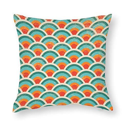 YY-one Fundas de almohada decorativas sin costuras, diseño de círculos geométricos, textura grunge, funda de cojín de algodón para sofá, silla, cuadrado, 40,6 x 40,6 cm