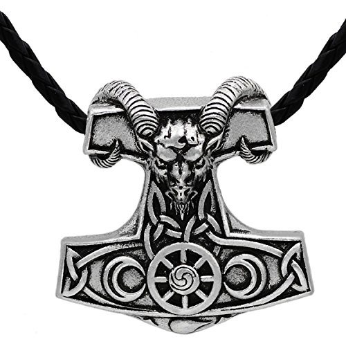 Viking Goat Amulett Thor Hammer Horn Mjölnir Steampunk skandinavischen Pagan Fenrir Nordic Anhänger Halskette - Edelstahl Leder