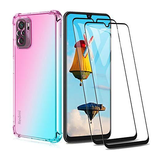 GOGME Funda para Xiaomi Redmi Note 10 4G / Redmi Note 10s + 2 Cristal Templado, Carcasa Transparente TPU Ultra Slim Flexible Suave Silicona TPU Bumper, Reforzar Case Cover (Rosa/Verde)