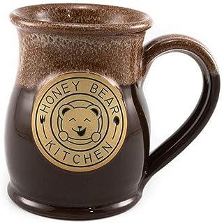 Honey Bear Kitchen Handmade Stoneware Mug (Chocolate w/Cinnamon White Marble Glaze, 14 oz)