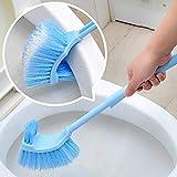 Scopino bilaterale per WC con manico lungo, buona impugnatura, per la pulizia, resistente, per casa, hotel