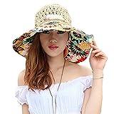 Bhbuy Women Girls Summer Sun Beach Hat Large Brim Hand Woven Straw Hat (Beige)