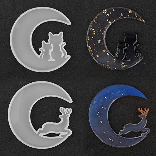 2 stampi in resina epossidica a forma di luna di Natale con mezzaluna di resina epossidica, stampi in silicone, stampi in resina epossidica con cristalli epossidici, luna, renna, luna, gatto