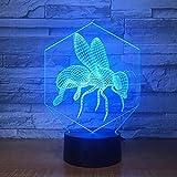 Color cambiante USB creativo 3D acrílico LED abeja dibujos animados luz nocturna luz decorativa para dormir