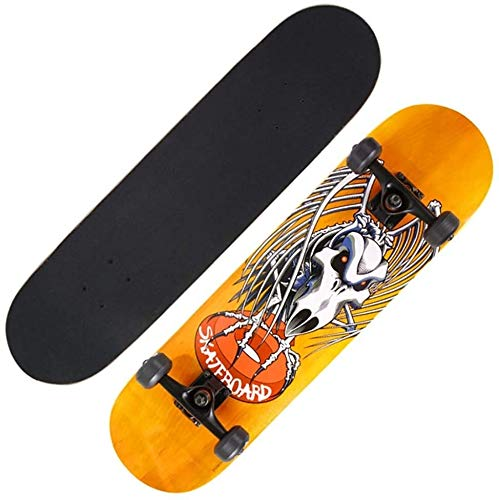 Skateboard Beginner Professional Board, Boy and gi Entry-Level-Anfänger Kind Longboard Skateboard Geier Gelb 78 cm Skateboard (Color : Yellow Vulture)