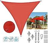 SUNDUXY Toldo Vela de Sombra Triangular Impermeable a Prueba de Viento protección UV Toldo Vela jardín para Patio, Exteriores, Jardín, Color Rojo,4x4x4m/13'x13'x13'