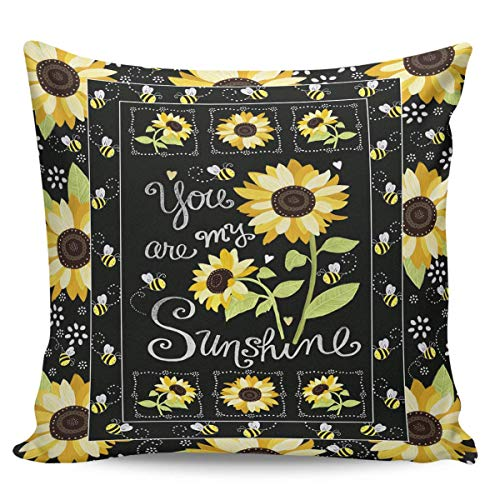 W-wishes Throw Pillow Covers Cases,Sunflower You are My Sunshine Cushion For Home Decoration, 18 x 18 Inch