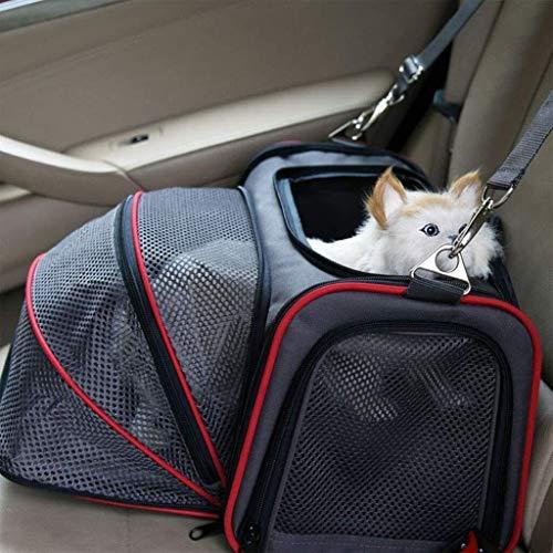 Sebasty Bolsa para mascotas, mochila para perro, gato, bolsa portátil, bolsa de viaje, bolsa de viaje, bolsa de exposición, color negro, 46 x 28 x 28 cm, apto para 15 kg