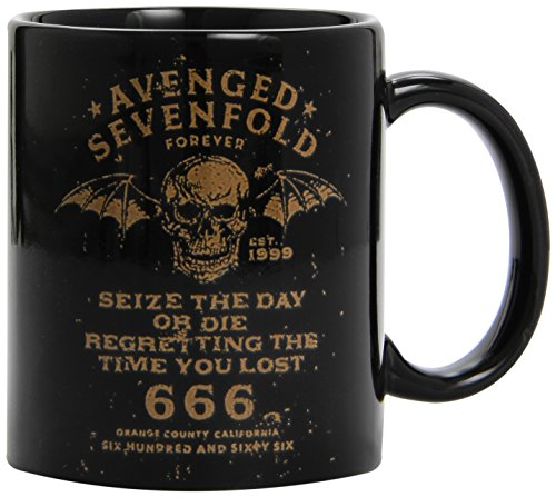 Avenged Sevenfold - Seize The Day Or Die Regretting The Time You Lost 666 Logo - Tasse schwarz im Geschenkkarton