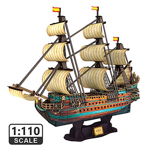 """CubicFun The San Felipe Model Ship Kits 3D Puzzle 25.6"""" for Adults and Teens, Stress Relief Hobby Cool Decoration Birthday Gift for Men 248 Pieces"""