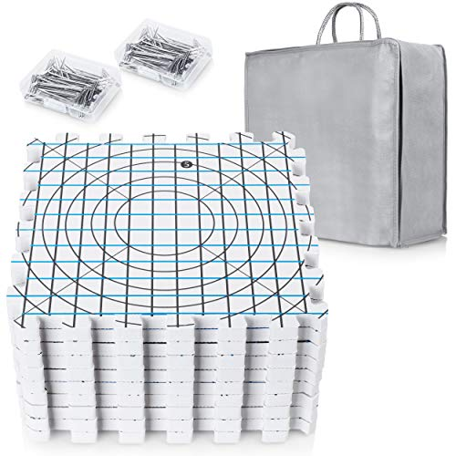 Extra Thick Blocking Mats for Wet and Steam Blocking with Grids and 36 inches Radial Circles - Includes 100 t pins and Storage Bag