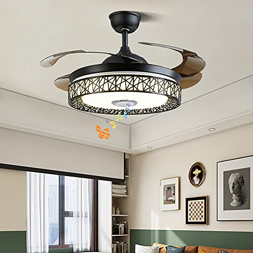 Fandian 42in Modern Smart Ceiling Fan with Lights Bluetooth Speaker Chandelier Lighting Fixtures, Remote Control, Retractable Blades, 3 Light Colors, for Living room, Bedroom (42in-Black nest)