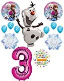 Mayflower Products Frozen 3rd Birthday Party Supplies Olaf, Elsa and Anna Balloon Bouquet Decorations Pink #3
