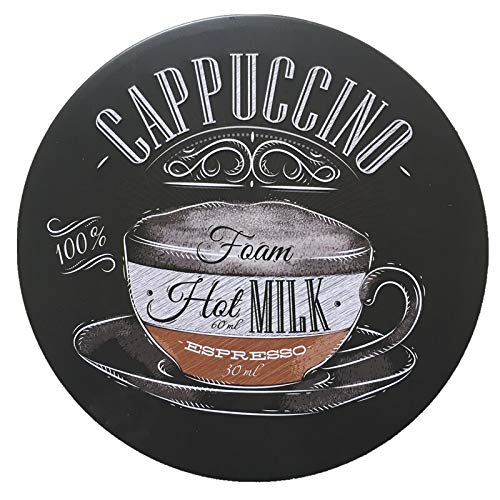 nobrand Cappuccino Series Funny Decoration Nostalgic Wall Decor Garage Round Poster Metal Circular Sign 12x12 Inch