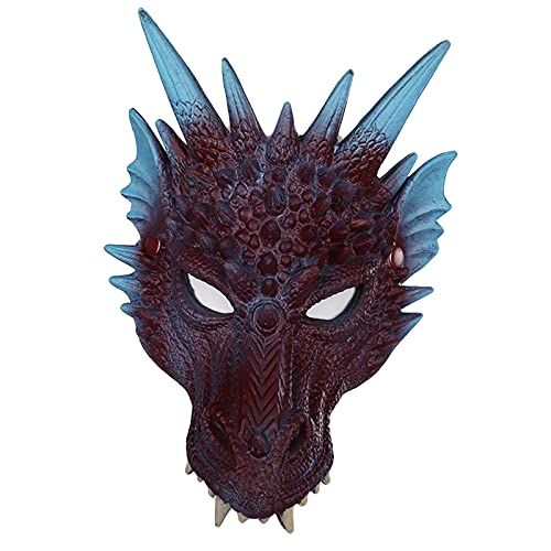 F Fityle Horror Evil Dragon Monster Full Head Cover para Hombres Mujeres Cosplay Fiesta Mascaría Fancy - Azul y púrpura