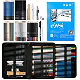 H&B 72 Pack Drawing & Sketching Set, Include Colored, Graphite, Charcoal, Watercolor, and Metallic Color Pencils, Sketch Book, Art Supplies for Artist, Adults, Teens, Kids, Beginner, Art Pencils Kit