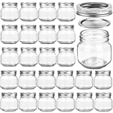 24 PACK Mason Jars 8OZ With Regular Silver Lids and Bands, Ideal for Jam, Honey, Wedding Favors, Shower Favors, Baby Foods, DIY Magnetic Spice Jars, 24 Whiteboard Labels Included