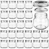 PREMIUM VIALS CREATIVE PACKAGING SOLUTIONS 24 PACK Mason Jars 8OZ With Regular Silver Lids and Bands, Ideal for Jam, Honey, 24 Whiteboard Labels Included