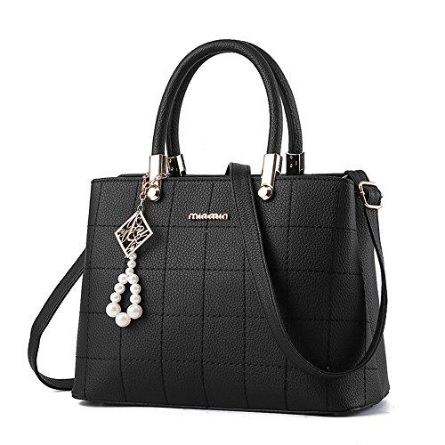 BestoU Handtaschen Damen Schwarz Leder groß Damen Schultertasche Frauen Umhängetasche (Schwarz)