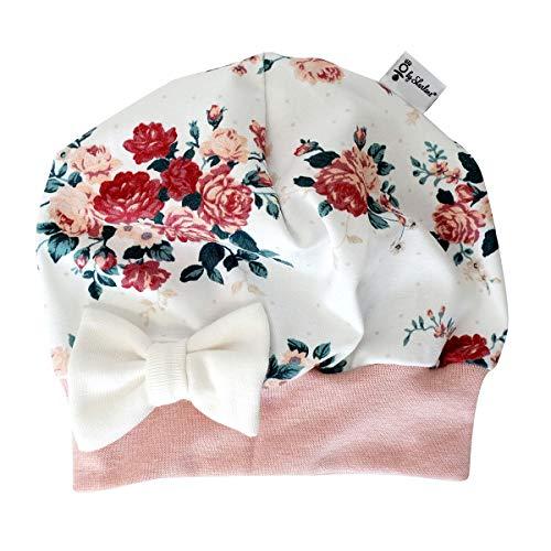 Sharlene Mütze Schleife Cremeweiß Rosen (Rose Melange) Baby Mütze Beanie Mitwachsgrößen handgefertigt in Deutschland (45-49)