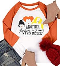 MNLYBABY Another Glorious Morning Makes ME Sick Halloween T-Shirt Women Long Sleeve Sanderson Sisters Top Tees (XXL, Orange)