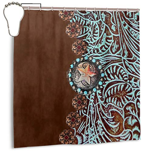 Noick Primitive Cowboy Cowgirl Western Country Brown Turquoise Leather Boutique Shower Curtain Hooks Polyester Home Decor 72x72inch