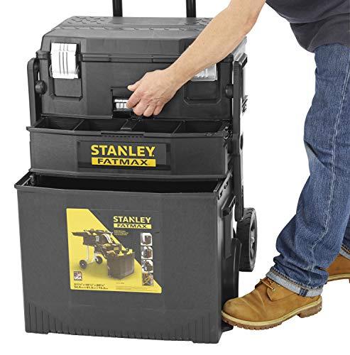 Stanley 1-94-210 Servante d'Atelier Cantilever Gamme Fatmax - Organiseur À Cloisons Amovibles - encoche en V pour Coupe d'Appoint - Poignée Télescopique - Loquet de Verrouillage - Roues Grand Diamètre