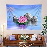 KHKJ Zen SPA Tapiz Floral Decoración para Colgar en la Pared Lotus Bamboo Stems Stones Jardín Paisaje Arte Tela de Pared Tapiz Mantas A7 230x180cm