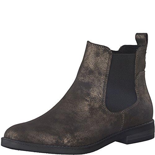 Tamaris Damen Chelsea Boots 25313-21,Frauen Stiefel,Halbstiefel,Stiefelette,Bootie,Schlupfstiefel,flach,Blockabsatz 2.5cm,Pewter Antic,EU 37