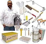 TOPQSC Imkerei-Werkzeug-Set, Imkereibedarf 18-teilig, Deluxe Imker-Starterset, Imkereijacke XL, Imker-Anzugjacke mit Schleier und Hut, Bienenstock-Kit, Bienenstock-Kit, Bienenstock-Werkzeuge