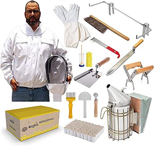 TOPQSC Kit de herramientas de apicultura, suministros de apicultura, 15 piezas, kit de principiantes de apicultor, chaqueta de apicultura XL, chaqueta de traje con velo y sombrero, kit de colmena