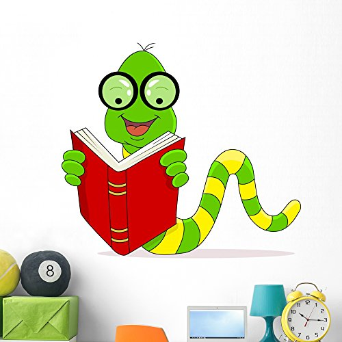 Wallmonkeys Happy Worm Reading Book Wall Decal Peel and Stick Educational Graphics (48 in W x 43 in H) WM333850