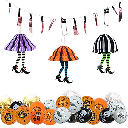 JH&MM Halloween Dekoration Hängen Set Paket Ornament Blut Messer String Waben High Heels Anordnung Halloween Latex Ballon Paket