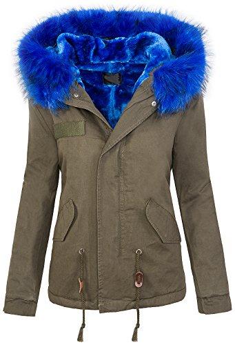 Rock Creek Damen Winter Jacke Damen Parka Vintage Jacke Mantel Outdoor Buntes Fell Warm Kapuze XXL-Kunstfell D-223 Khaki-Royalblau M