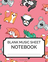 Blank Music Sheet Notebook: Cute Animals - Music Manuscript Paper, Staff Paper, Music Notebook 12 Staves, 8.5 x 11, A4, 100 pages