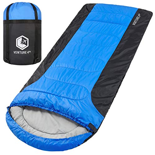 3-Season XL Sleeping Bag, Extra Large – Lightweight, Comfortable, Water Resistant, Backpacking Sleeping Bag for Big and Tall Adults – Ideal for Hiking, Camping & Outdoor Adventures – Blue/Black