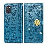 Oihxse Funda para Samsung Galaxy S8+ Plus Carcasa Protectora Libro con Tapa Flip Case Ranuras Cartera con Tarjetas Soporte Plegable Gatos y Perros Patrón Moda Mujers Cuero Billetera Cover,Azul