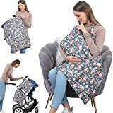 100% Cotton Nursing Breastfeeding Cover - Multi-use Car Seat Covers for Babies, Breathable Nursing Apron, Carseat Canopy, Unisex Baby Shower Party Gifts